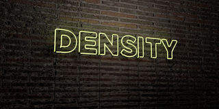 DENSITY -Realistic Neon Sign on Brick Wall background - 3D rendered royalty free stock image. Can be used for online banner ads and direct mailers Royalty Free Stock Images