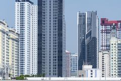 Density residential building vision blocked environment. In Bangkok, Thailand royalty free stock photos