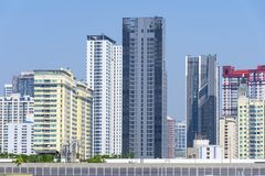 Density residential building vision blocked environment. In Bangkok, Thailand royalty free stock photo