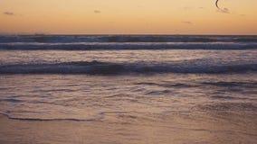 Densurfa surfaren seglar på havvågen spain Tarifa långsam rörelse arkivfilmer