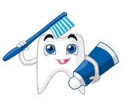 Dent avec la brosse à dents et la pâte dentifrice, souriant Illustration Stock