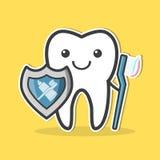 Dent avec le bouclier et la brosse à dents Photo stock