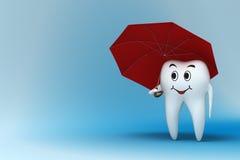 Dent avec le parapluie rouge Photo stock