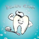 Dent avec une brosse à dents, souriant Image libre de droits