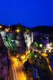 Dent Creuse at night in Luxembourg. Dent Creuse, ruins of old castle at night with lantern lights in Luxembourg Stock Photography