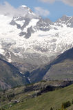 Dent d'Herens from Schwarzsee. Path above Zermatt Royalty Free Stock Photos
