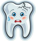 Dent de dessin animé. Mal de dents illustration stock
