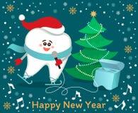 Dent de patinage de bande dessinée de chant avec l'arbre de Noël illustration libre de droits