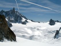 Dent du Geant and the Helbronner Royalty Free Stock Image