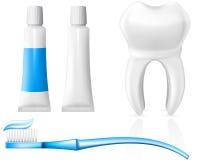 Dent et matériel dentaire d'hygiène Photographie stock libre de droits