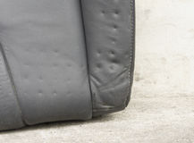 Dent on leather seat Stock Images