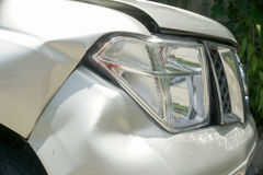A dent on the right front of a pickup truck (damage from crash) Royalty Free Stock Images