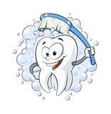 Dent saine avec les dents blanches de fond de brosse d'illustration dentaire de vecteur nettoyant les cosmétiques propres de sour Photographie stock