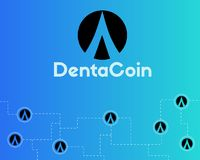 Dentacoin blockchain technology world style background. Vector illustration Royalty Free Stock Image