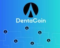 Dentacoin blockchain technology world style background. Vector illustration Royalty Free Stock Photography