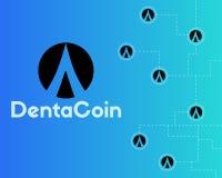 Dentacoin blockchain technology world style background. Vector illustration Royalty Free Stock Images