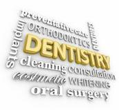 Dentaduras de los apoyos de la ortodoncia del collage de la palabra de la odontología 3d Imagen de archivo