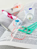 Dental. Dentistry illustraded with dental care items on dictionary Stock Photography