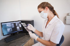 Dental assistant looking at x-rays on computer Stock Images