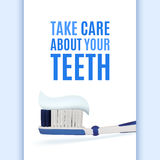 Dental background with realistic toothbrush Royalty Free Stock Images