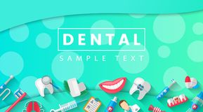 Dental Banner Background Concept With Flat Icons . Vector Illustration, Dentistry, Orthodontics. Healthy clean. Teeth. Dental instruments and equipment Stock Image