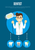Dental banner with male dentist Stock Images