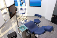 Dental blue chair equipment technology 2. Blue medical dental chair dental surgery equipment technology Royalty Free Stock Photo