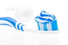 Dental brush and with paste Royalty Free Stock Image