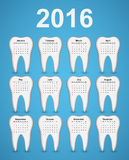 Dental calendar 2016 year. Vector illustration royalty free illustration