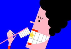 Dental care. Woman brushes her sparkling white teeth with a toothbrush Royalty Free Stock Photos