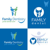 Dental care. Abstract Vector illustration of teeth. Dental logo. Family dental clinic on white and blue backgrounds Royalty Free Stock Images