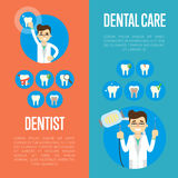 Dental care banners with male dentist Royalty Free Stock Photos