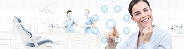 Dental care concept, beautiful smiling woman on dentist clinic b. Dental care concept, beautiful smiling women on dentist clinic background with teeth icons and Royalty Free Stock Photo