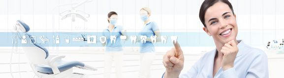 Dental care concept, beautiful smiling woman on dentist clinic b Royalty Free Stock Photo
