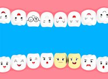 Cute cartoon whiten tooth with decay problem. Dental care concept. Illustration on blue background Royalty Free Stock Images
