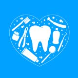 Dental instruments with tooth in heart shape. Dental care concept. Vector Illustration isolated on blue background. Great for greeting card, poster and banner Royalty Free Stock Photos