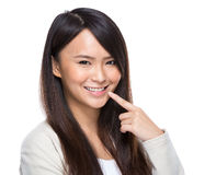 Dental care concept, woman with toothy smile. Asian woman isolated on white Stock Image