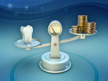Dental care costs. Some coins and a tooth on a scale. 3D illustration Royalty Free Stock Photo