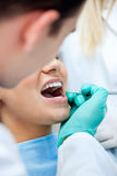 Dental care. Dentist checking patient's teeth - concept dental care Stock Images