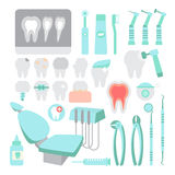Dental care. Dentist instrument tools set. Teeth problems and treatment. Royalty Free Stock Photos