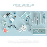 Dental care equipment symbols. Teeth dentistry care mouth health set with inspection dentist treatment . Vector Royalty Free Stock Photos