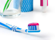 Dental care equipment white background. Royalty Free Stock Photos