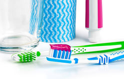 Dental care equipment white background. Royalty Free Stock Images