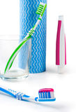 Dental care equipment white background. Royalty Free Stock Photography