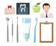 Dental care flat decorative icons set with stomatologist tools   Stomatologist. Royalty Free Stock Image