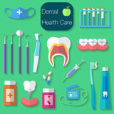 Dental care flat design Vector illustration with Dental floss, teeth, mouth, tooth paste and brush, medicine, syringe and dentist Stock Photos