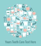 Dental Care Graphics Arranged in Circular Pattern Royalty Free Stock Images