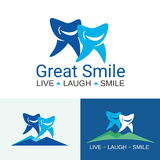 Dental care great smile. Logo with two big and small teeth with cute faces for family dental clinic on white and blue backgrounds Stock Image