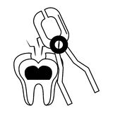 Dental care health and hygiene black and white. Dental care health and hygiene symbols and elements vector illustration graphic design royalty free illustration