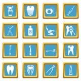 Dental care icons azure Stock Photos